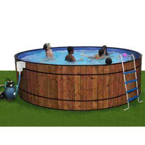 Toi vigipiscine kit piscine hors sol acier barrica ronde 350cm x 120cm habillage bois pas - Habillage piscine hors sol tubulaire ...