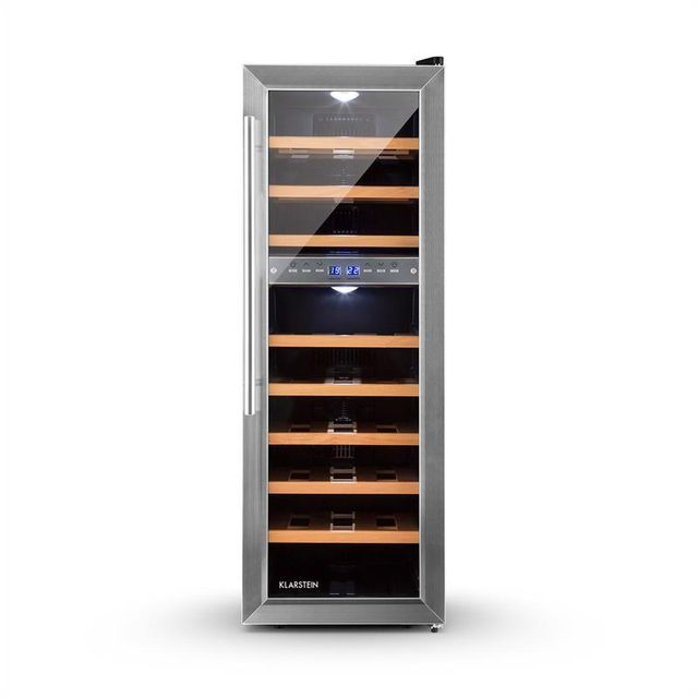 klarstein reserva 27d cave vin frigo vin multi temperature 76l 27 bouteilles pas cher. Black Bedroom Furniture Sets. Home Design Ideas