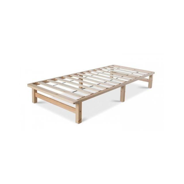 Homestyle4U Lit Palette 90x200 cm en bois massif