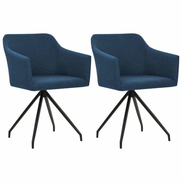 Distingué Fauteuils et chaises serie Port Moresby Chaises pivotantes de salle à manger 2 pcs Bleu Tissu
