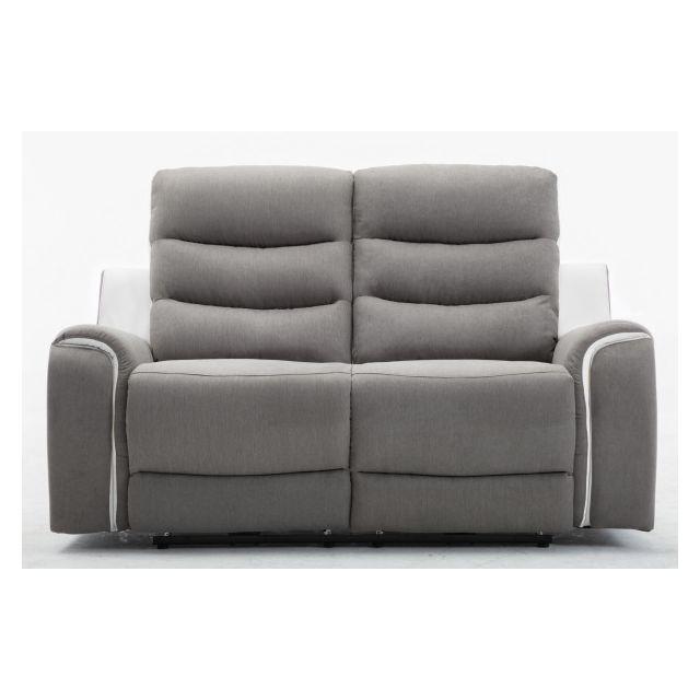 Moloo Faro-canapé 2 places tissu gris et Pu blanc 2 Relax électriques