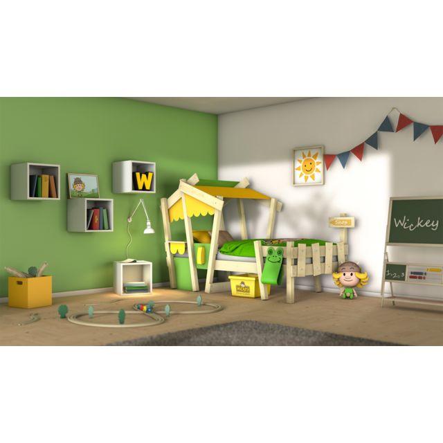 WICKEY Lit en bois pour enfant Crazy Candy Lit simple