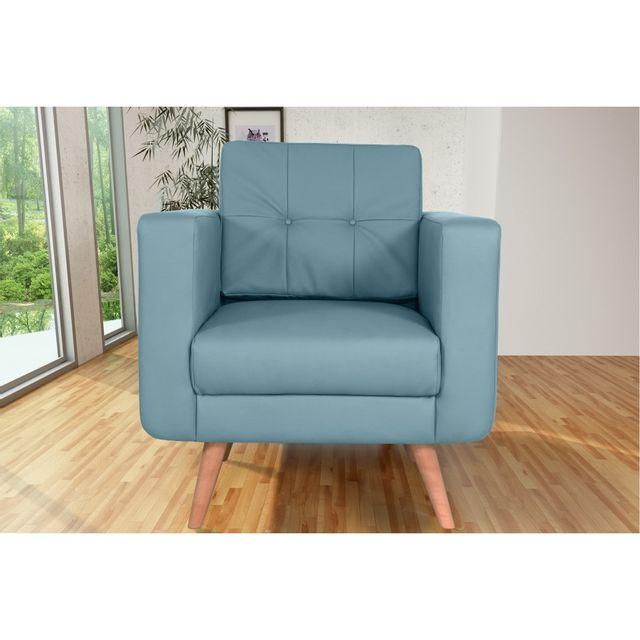 Rocambolesk Canapé fixe Hedvig 1 Pu Soft 08 Bleu sofa divan