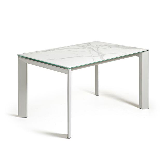Kavehome Table extensible Axis, gris et kalos blanc - 140 200, x90 cm