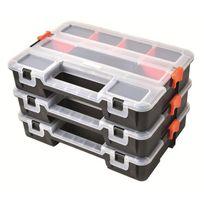 Tood - Lot de 3 mallettes clipsables en plastique 31.5x22.5x19.8 cm