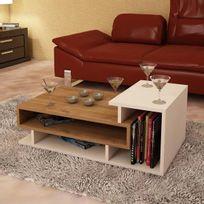 Alphamoebel - Table basse Spring blanc-noyer 35x90x50 cm