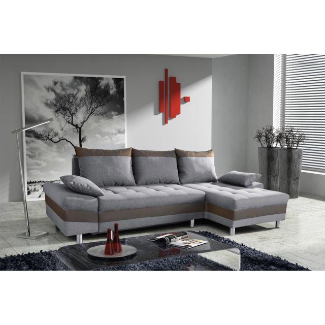 Modern Sofa   Canapé Bacau Gris Clair/marron Angle Droit