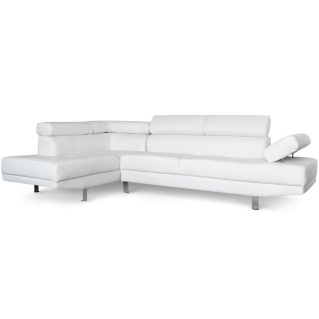 MENZZO Canapé d'angle avec têtières relevables Alfa Blanc