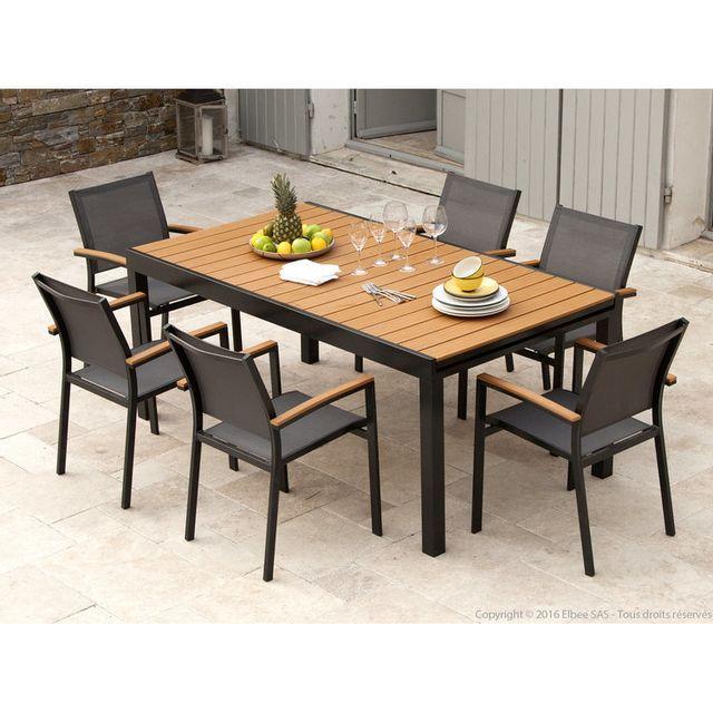 Axe Design - Salon de jardin aluminium Gris et composite Bois   1 table  extensible 180 a90ee4668e6b
