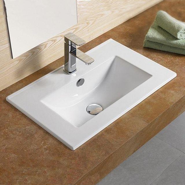 vasque a encastrer rectangulaire Rue Du Bain - Vasque encastrable céramique - 62x40 cm - Compact