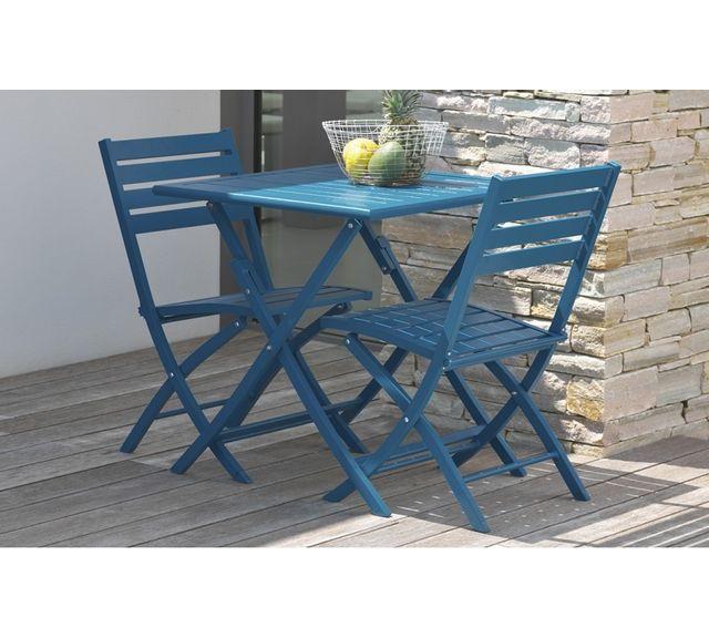 Dcb Garden Guéridon pliant en aluminium bleu
