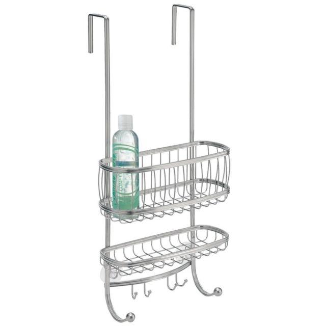 interdesign organisateur de douche rangement sur porte de douche avec crochets pas cher. Black Bedroom Furniture Sets. Home Design Ideas