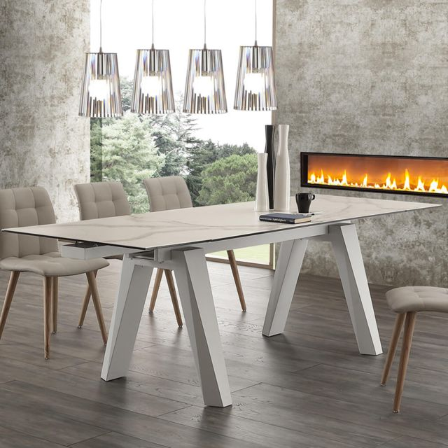 Nouvomeuble Table extensible en céramique blanche Clovis