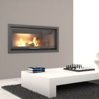 Focgrup - Insert Bv120 panoramique avec Pieds et Foyer acier et Porte guillotine