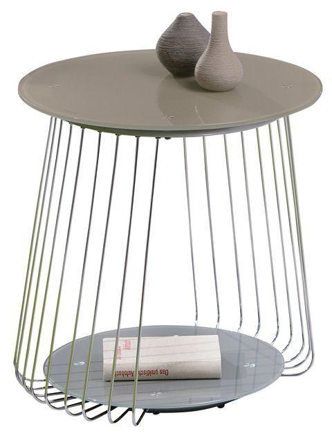 COMFORIUM Table d'appoint en verre sécurit coloris cappuccino