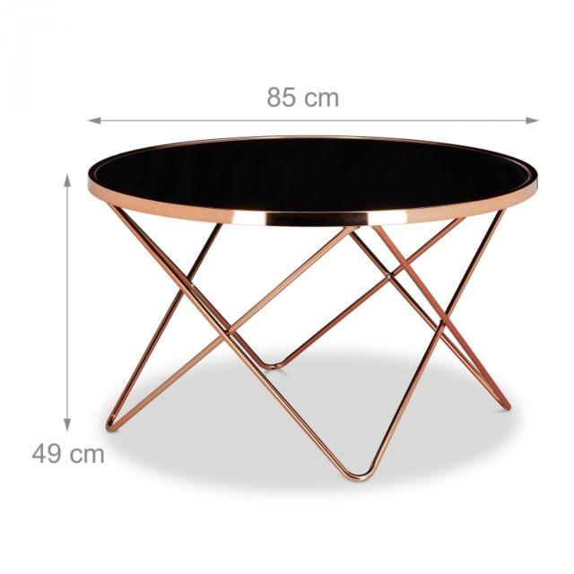 Table Basse Ronde Diamètre 83 Cm Cuivre Et Verre Noir Moderne Design 0913010