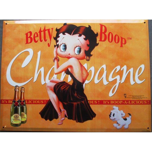 Universel Plaque betty boop champagne orange avec petit chien tole