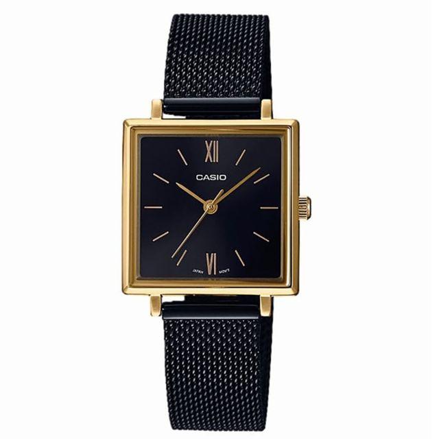 Casio Montre femme Vintage carrée doré et fond noir pas  xnSHr