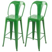 Rendez Vous Deco - Chaise de bar Indus verte 76 cm lot de 2