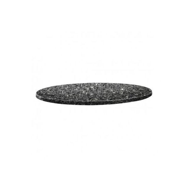 Topalit Plateau de table rond granite noir 80 cm Granite noir 800 Ø, mm