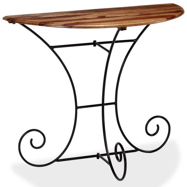 Chic Consoles categorie Tbilissi Table console Bois massif de Sesham Demi-ronde 90 x 45 x 75 cm