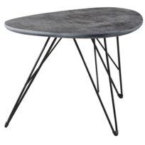 comforium table basse design plateau bois mdf gris anthracite avec un pitement en acier 60