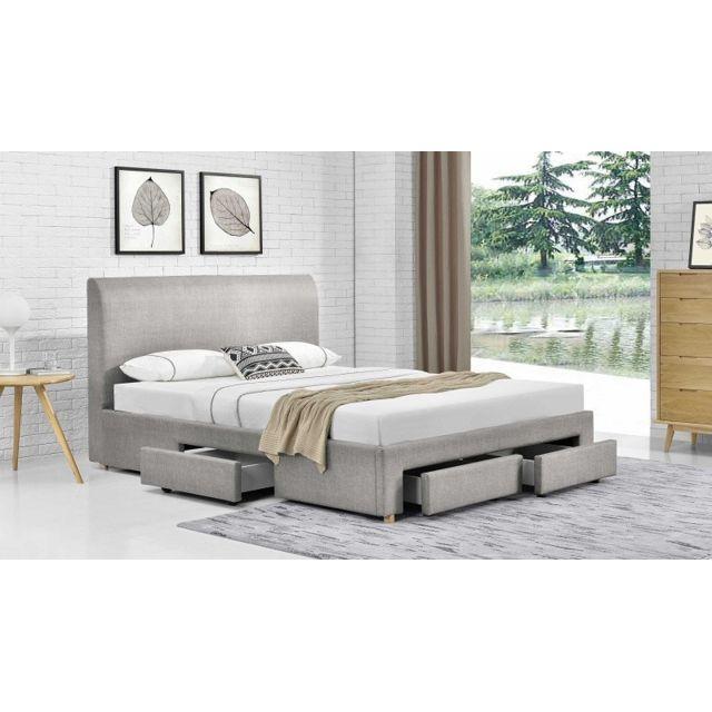 fournier decoration loft lit lin gris 160x200 cm 4. Black Bedroom Furniture Sets. Home Design Ideas