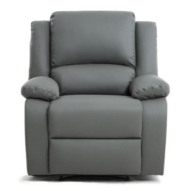 FAUTEUIL RELAX Fauteuil relaxation - Simili gris - Style contemporain - L 86 x P 90 cm
