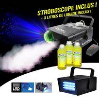 Ibiza Light - Machine à fumée 500W 2en1 effet lumière Astro Rvb intégré + 3L + Stroboscope