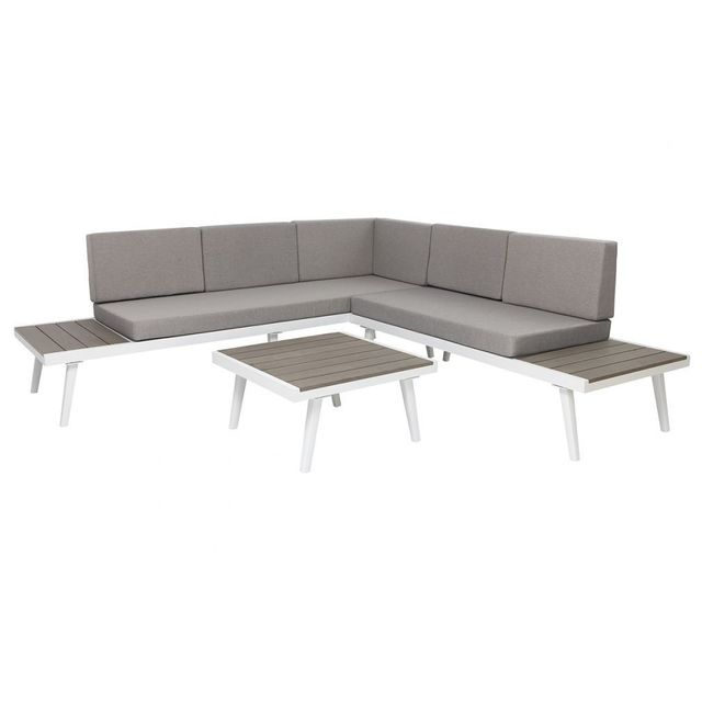 Miliboo - Salon de jardin d\'angle métal gris et blanc mat Santorin ...