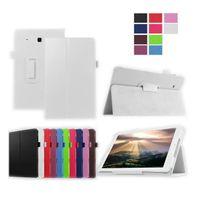 Xeptio - Samsung Galaxy Tab E 9.6 pouces Cuir Style blanc avec Stand - Etui coque de protection tablette