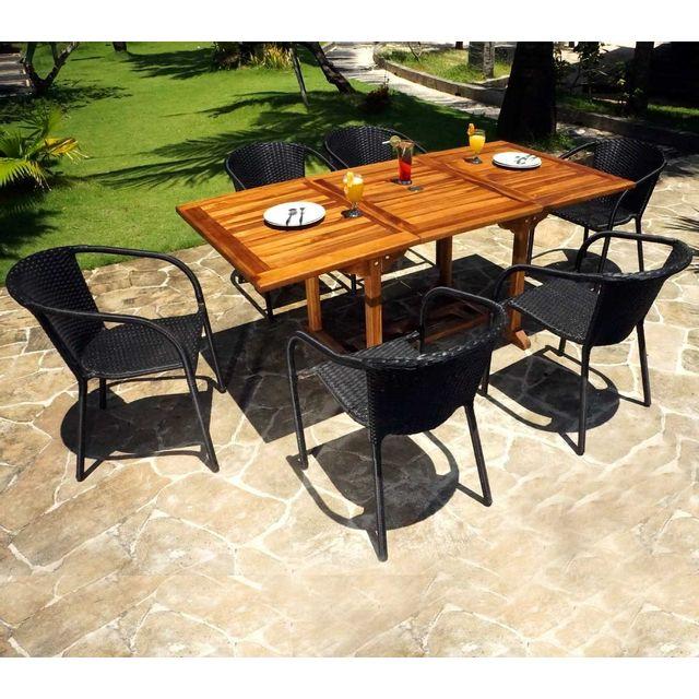 Wood En Stock - Table de jardin en teck huilé 180 cm 6 fauteuils en ...