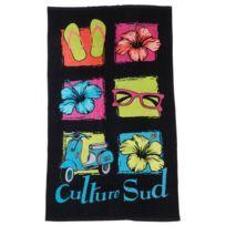 Culture Sud - Serviette de bain drap de plage Bulina multiolor Noir 74021
