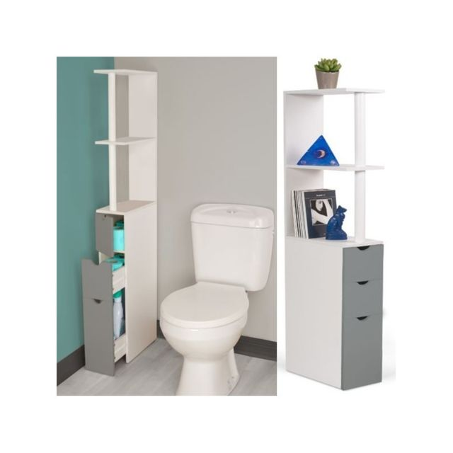 idmarket meuble wc tag re bois blanc et gris gain de place pour toilettes 3 portes pas cher. Black Bedroom Furniture Sets. Home Design Ideas