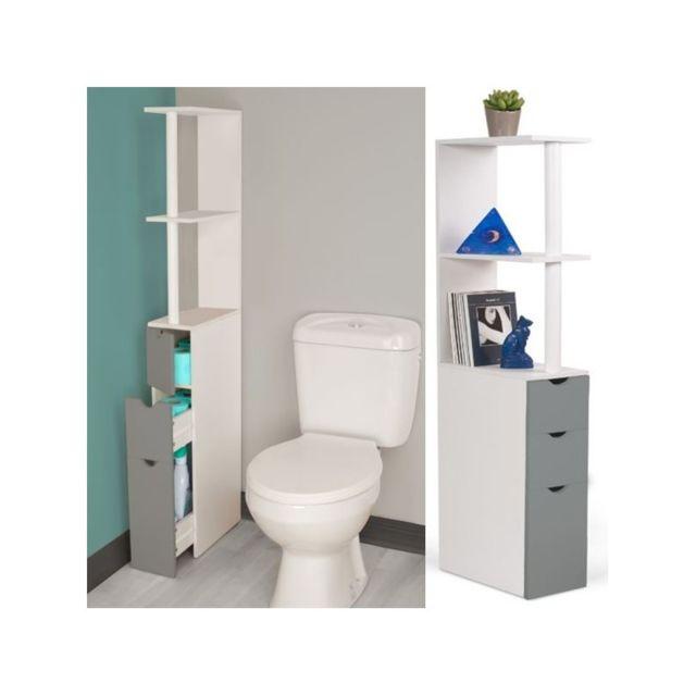 Meuble WC étagère bois blanc et gris gain de place pour toilettes 3 portes
