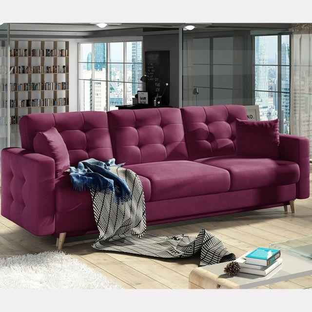 Nouvomeuble Canapé lit 3 places en tissu violet Astrid