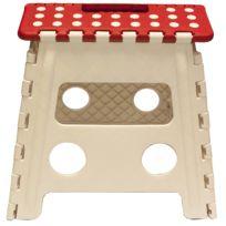 Touslescadeaux - Grand Tabouret Marche Pied Pliant Pliable 31 cm - blanc et rouge