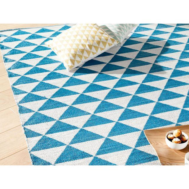 Dlm Tapis Bleu Scandinave Tisse Main Motif Triangle 200x290cm