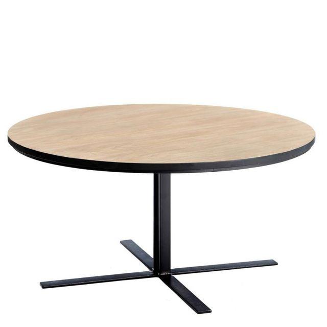 Ma Maison Mes Tendances Table basse ronde en Mdf imitation bois et métal Myron - L 85 x l 85 x H 42
