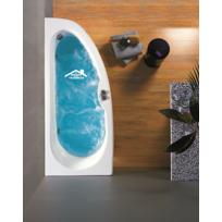 Maison De La Tendance - Baignoire d'angle en acrylique lucite balnéo à 6 jets Konchili 170x70x40 cm