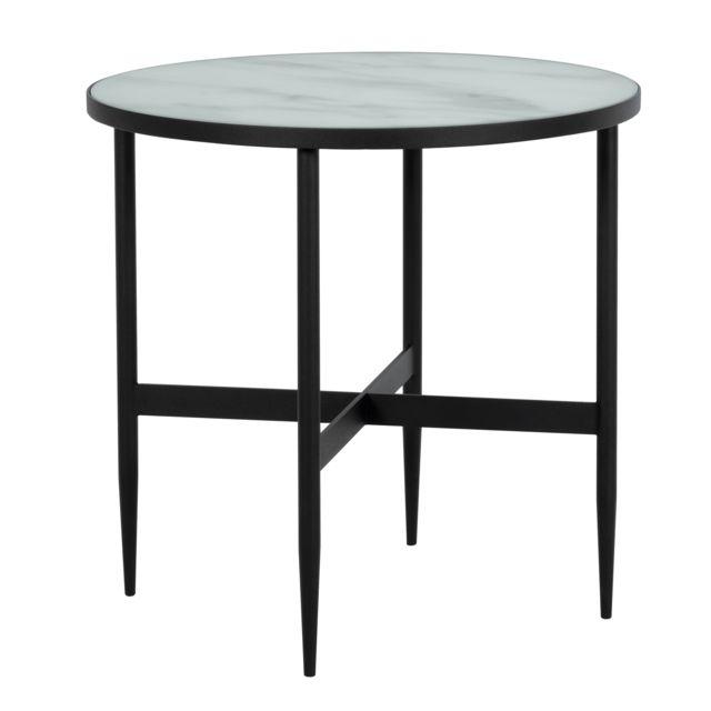 Rendez Vous Deco Table basse ronde Alaska en verre effet marbre et metal noir ∅ 50 cm