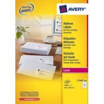Avery - Etiquettes adresses laser 63,5 x 38,1 mm L7160-100 - Boîte de 2100