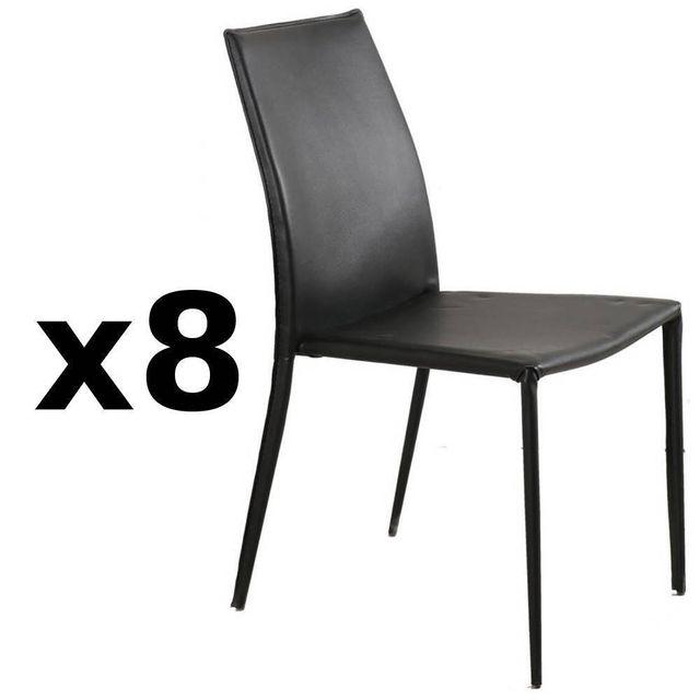 Inside 75 Lot de 8 chaises design Polo en tissu enduit polyuréthane simili façon cuir noir