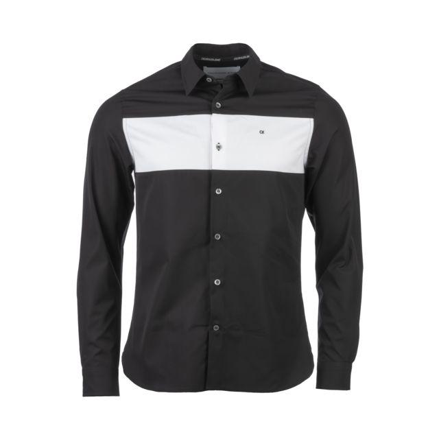 aspect esthétique texture nette tout à fait stylé Calvin Klein - Chemise Colour Block slim en coton noire et ...