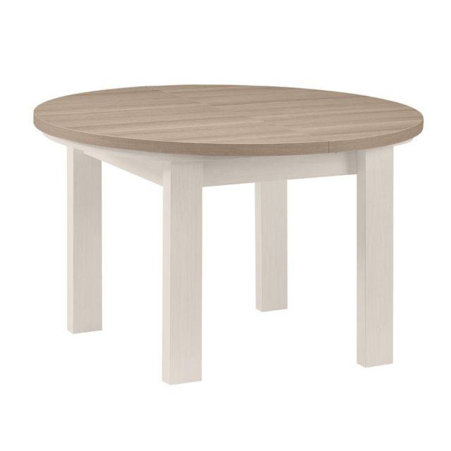 Tousmesmeubles Table de repas ronde à allonge Frêne Blanchi - Pompei