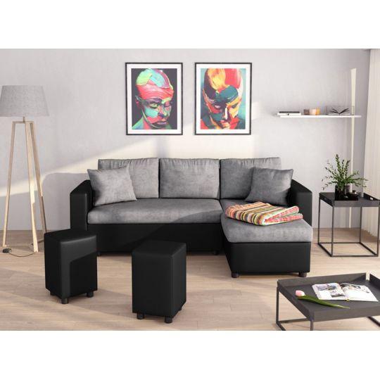 design intemporel d0138 32863 Canapé d'Angle GUEST Réversible et Convertible avec Coffre et 2 Poufs Noir  / Gris à Prix Carrefour