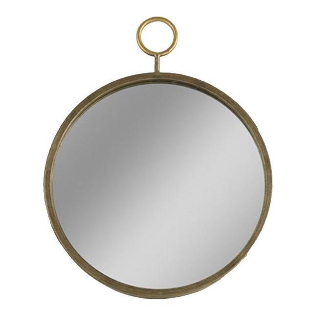 Decoshop Miroir rond doré 45.5 cm