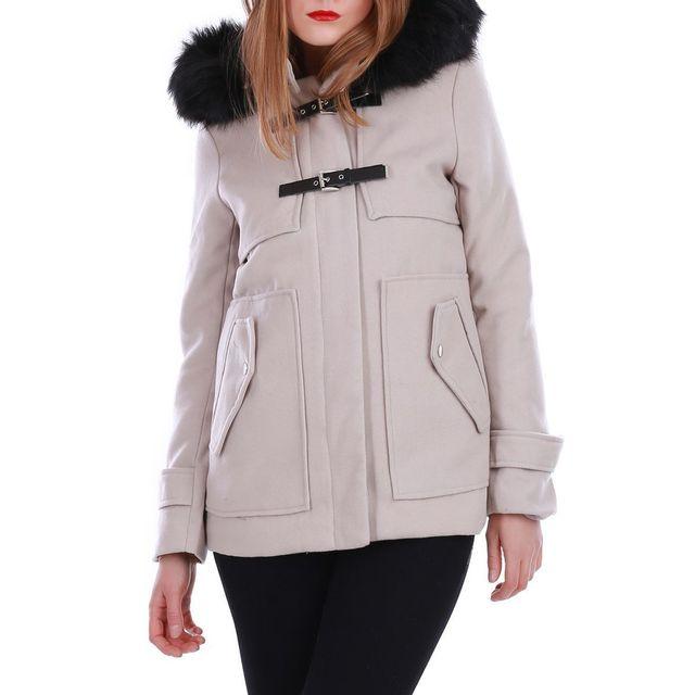 Coat Manteau Avec Lamodeuse Capuche Fourrure Duffle Beige Style w6wZaP