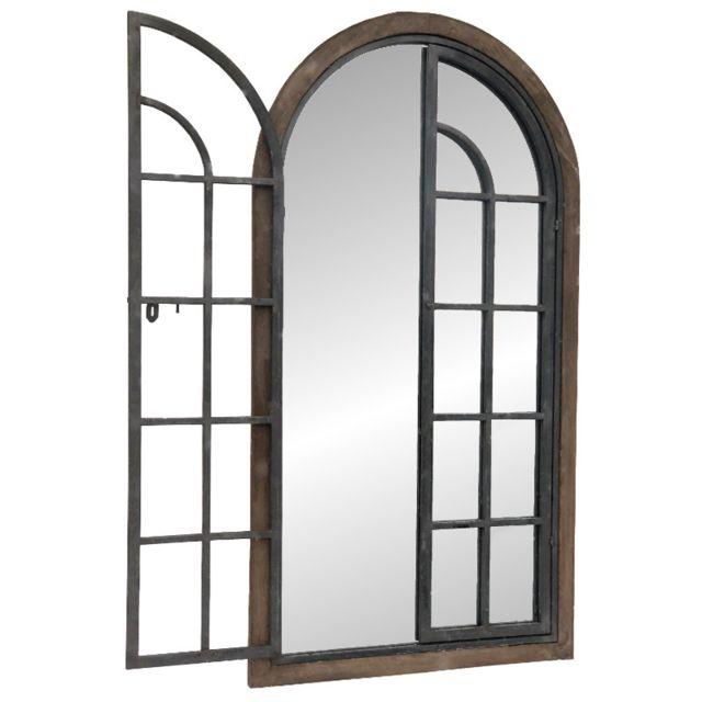 L'ORIGINALE Deco Grand Miroir Fenêtre en Bois Fer Métal Campagne Industriel 150 cm
