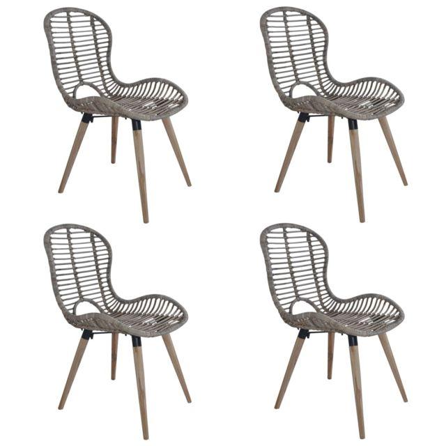 Chaise de jardin 4 pcs Rotin 48x64x85 cm Marron